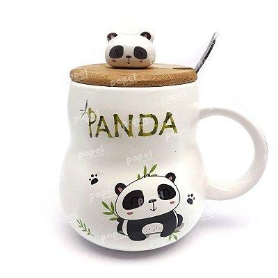 Caneca com Tampa e Colher Panda Deitado