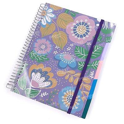 Caderno c/ Divisórias Removíveis  192 Folhas Floral Lilás