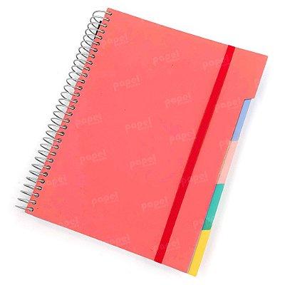 Caderno c/ Divisórias Removíveis 192 Folhas Salmão