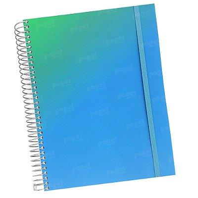 Caderno Flexível Degradê Verde e Azul 96 Folhas
