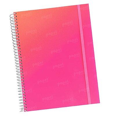 Caderno Flexível Degradê Laranja e Rosa 96 Folhas