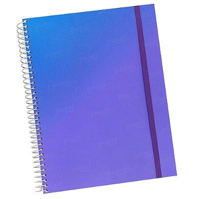 Caderno Flexível Degradê Lilás e Azul 96 Folhas
