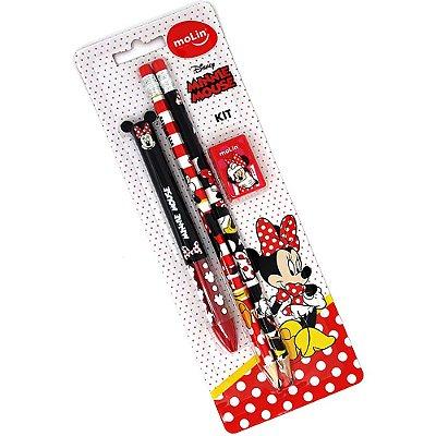 Kit Escolar 4 Peças Minnie Mouse