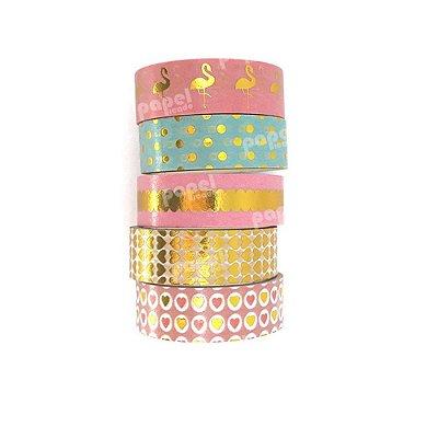 Conjunto Fita Adesiva Washi Tape Flamingos