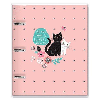 Caderno Fichário 3 Furos Gatos
