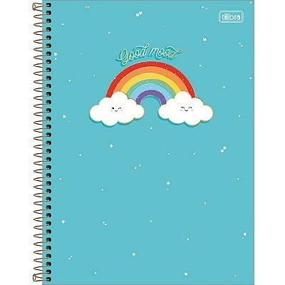 Caderno Espiral 80 Folhas Azul Arco Íris