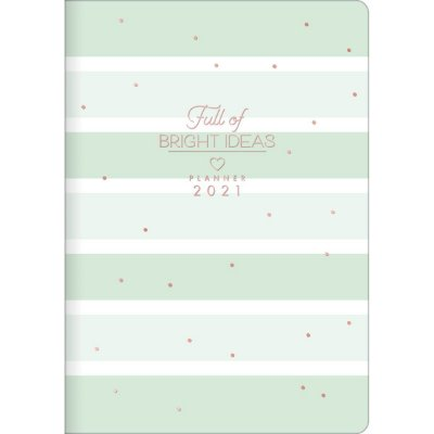 Planner Mensal Brochura Flexível Soho Listrado Verde Pastel