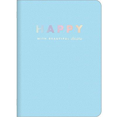 Caderninho Happy Azul Pastel Médio