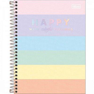 Caderno Happy Listrado Pastel Colorido 80 Folhas