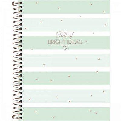 Caderno Soho Listrado Verde Pastel 160 Folhas
