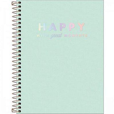 Caderno Happy Verde Pastel 80 Folhas
