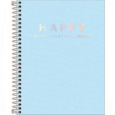 Caderno Happy Azul Pastel 80 Folhas