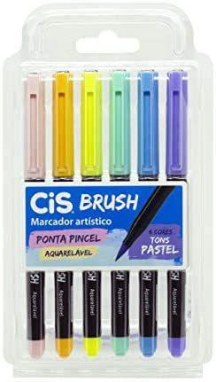 Conjunto Marcador Artístico Brush 6 Cores Pastel