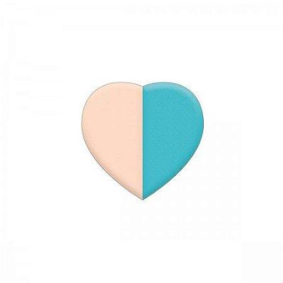 Borracha Coração Rosa e Azul Claro