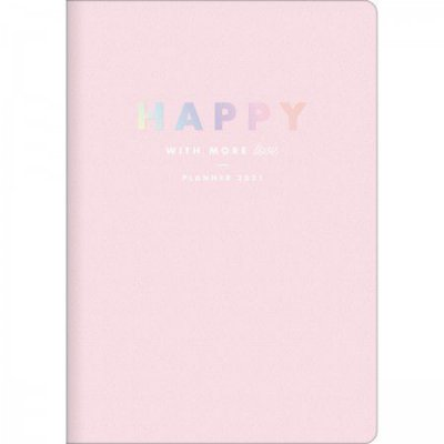 Planner Mensal Brochura Flexível Happy Rosa Pastel