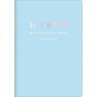 Planner Mensal Brochura Flexível Happy Azul Pastel