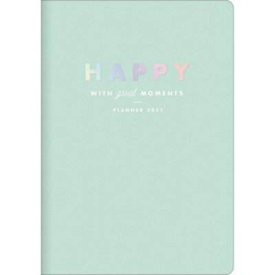 Planner Mensal Brochura Flexível Happy Verde Pastel
