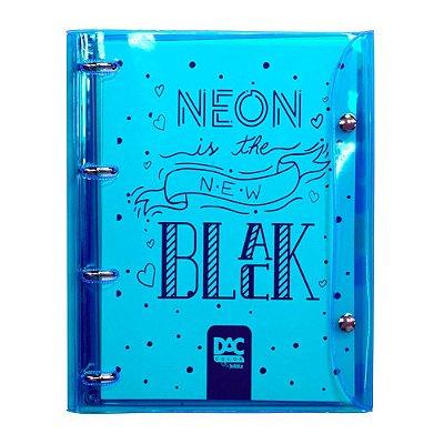 Fichário Neon Azul Transparente