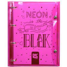 Fichário Neon Rosa Transparente