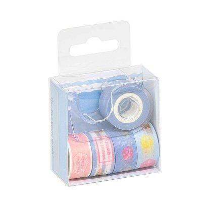 Kit 5 Rolos Washi Tape Com Dispenser Azul