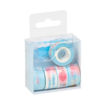 Kit 5 Rolos Washi Tape Com Dispenser Azul Claro