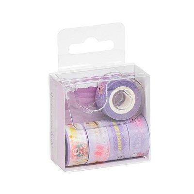 Kit 5 Rolos Washi Tape Com Dispenser Lilás
