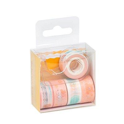 Kit 5 Rolos Washi Tape Com Dispenser Salmão