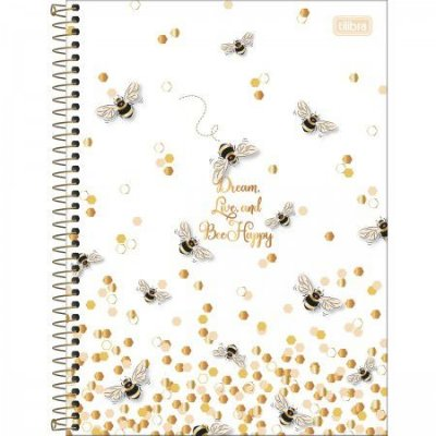 Caderno Abelha Dream, Live and Bee Happy 160 Folhas