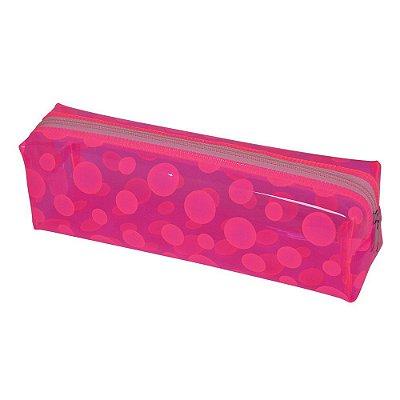 Estojo Transparente Neon Rosa