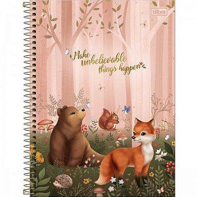 Caderno Animais da Floresta Rosa 80 Folhas