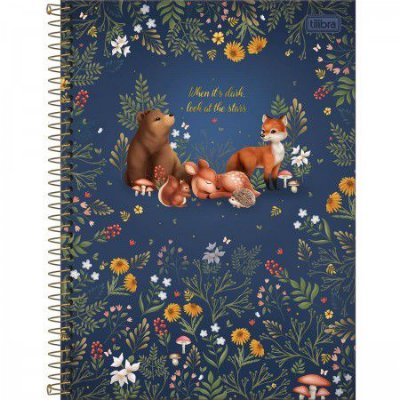 Caderno Animais da Floresta Azul 160 Folhas