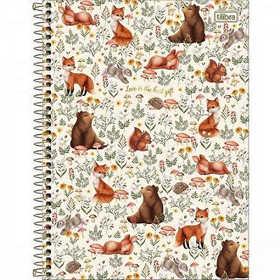 Caderno Animais da Floresta Branco 160 Folhas