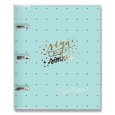 Caderno Fichário 3 Furos Sonhos Verde Estrelas