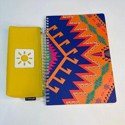 Kit Caderno + Estojo Amarelo
