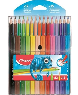 Conjunto de Colorir 12 Lápis + 15 Canetinhas