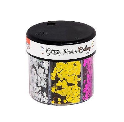 Potinho Glitter Shaker 60g- Hexágono Neon