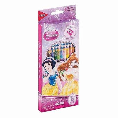 Lápis de Cor 12 Cores com Apontador - Princesas