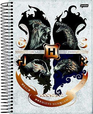 Caderno Espiral 10 Matérias Casas de Hogwarts