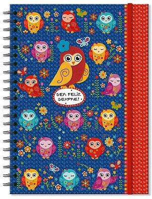 Caderno Corujinhas Coloridas - 100 Folhas
