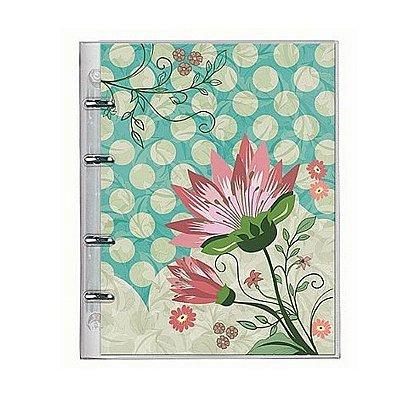 Caderno Fichário PVC Botanical Verde Claro