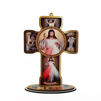 Cruz Sacra em MDF - Jesus Misericordioso - Pacote com 3 peças - Cód.: 4832