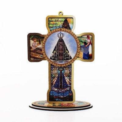 Cruz Sacra em MDF - Nossa Senhora Aparecida - Pacote com 3 peças - Cód.: 4832