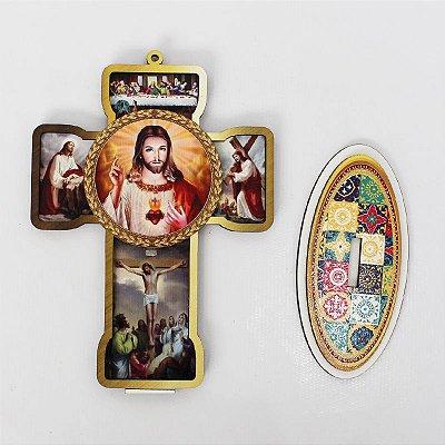 Cruz Sacra em MDF - Sagrado Coração de Jesus - Pacote com 3 peças - Cód.: 4832