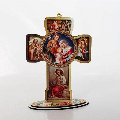 Cruz Sacra em MDF - Sagrada Família - Pacote com 3 peças - Cód.: 4832