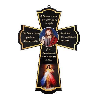 Cruz Santos em MDF - Jesus Misericordioso - Pacote com 3 peças - Cód.: 4833