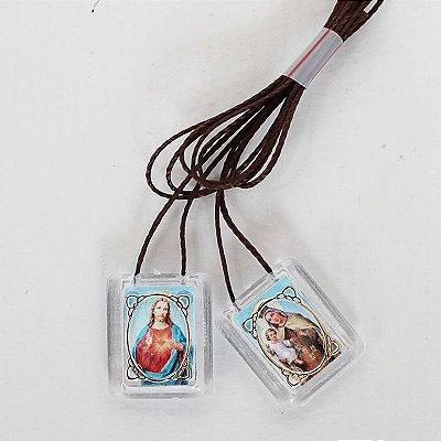 Escapulário em Acrílico - Sagrado Coração de Jesus e Nossa Senhora do Carmo - Pacote com 50 peças - Cód.: 1876