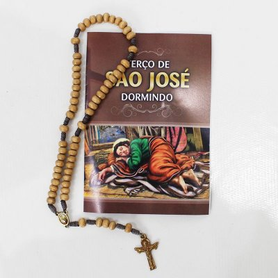 Terço com folheto de orações - São José Dormindo - Pacote com 6 peças - Cód.: 4721