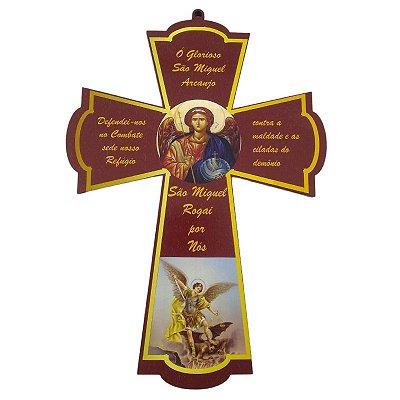 Cruz Santos em MDF - São Miguel Arcanjo - A Peça - Cód.: 4833