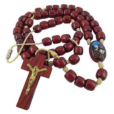 Terço em madeira de Nossa Senhora Aparecida e São Jorge com fecho - A Dúzia - 1019