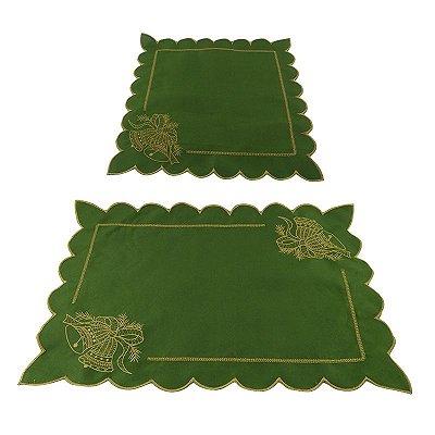 Conjunto Jogo Americano + Guardanapo Natalino - Verde - Conjunto com 6 peças de cada - Cód.: 7814